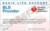 BLS Provider Class (Basic Life Support) Certification Card